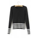 New Arrival Autumn Winter Striped Long Sleeve Pullover Sweater