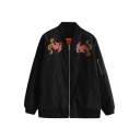 New Arrival Animal Embroidered Zipper Front Jacket Coat
