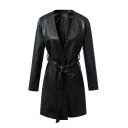 2016 Autumn Winter New Fashion V-neck PU Trench Coat with Belt