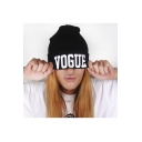 Unisex VOGUE Beanie Knit Black Beanie Hat Warm Winter Hats