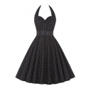 Women's Vintage 1950s Polka Dot Sleeveless Halter Swing Dress