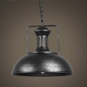16'' Wide Large Antique Silver Bowl Shaped LED Pendant Lighting