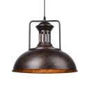 Rust/Gray Single Light Bowl Shape 16'' Wide LED Pendant Lamp