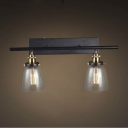 24'' Wide 2 Light Industrial Clear Glass LED Wall Light with Bowl Shade