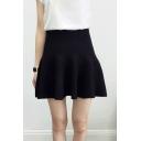 Concise High Waist Knitted A-line Short/Mini Skirt