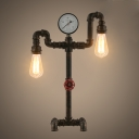 Industrial 2 Light Double Pipe LED Table Lamp