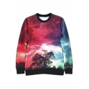 Women's Round Neck Tie Dye Galaxy Printed Sweatshirt T-shirts