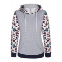 Women's Floral Printed Long Sleeve Hooded Pullover Hoodies Sweatshirt