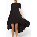 Fashion High Low Short Sleeve Crew Neck Swing Chiffon Dress