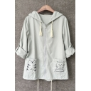 Cute Embroidered Cat Pocket Zip Front Drawstring Hooded Coat