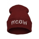 Unisex meow Letter Beanie Hat Winter Autumn Knit Cap