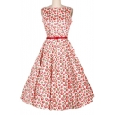 New Arrival Strawberry Print Sleeveless Swing Dress