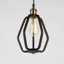 Textured Black Vintage Industrial 1 Light LED Mini Pendant in Black