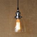 Industrial Style Clear Glass Shade Mini Foyer LED Pendant in Chrome/Bronze 5'' Wide