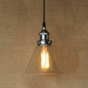 6'' Wide Cone Shade 1 Light Industrial Clear Glass LED Pendant Lighting