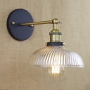 Vintage Style 1 Light Bowl Shade LED Wall Sconce with Ribbed Glass Shade