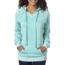 Women's Hooded Pullover Cotton Blend Sweatshirt with Kangaroo Pocket