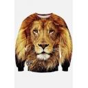 Unisex 3d Realistic Tiger Print Crew Neck Long Sleeve Pullover Sweatshirts S-XL