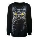 New Arrival Autumn Black Cat on Black Background Round Neck Sweatshirt
