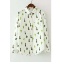 New Arrival Cute Cactus Print Long Sleeve Lapel Shirt