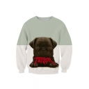 Women's Color Block Print Pullover Sweatshirt Tracksuit Tops Outwear