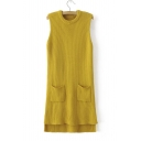 New Arrival Fashion Round Neck Sleeveless Knit Top Dip Hem Longline Sweater