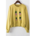 2016 Autumn Fashion Cactus Embroidered Long Sleeve Pullover Sweatshirt