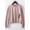 New Arrival Popular Cactus Embroidered Round Neck Long Sleeve Sweatshirt