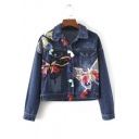 New Arrival Fashion Butterfly Embroidered Lapel Denim Jacket