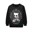 Unisex Skull Print Long Sleeve Personality Sweater