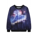 Women's Galaxy Space Painting Thin Sweater Sweatshirt Good Quality