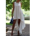 Chic High Low Sleeveless Crew Neck Dress in White/Black