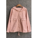 Solid Zip Front Long Sleeve Hooded Coat