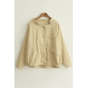 New Arrival Snap Button Long Sleeve Coat with Zip Detail