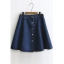 Popular Button Front A-line Denim Skirt