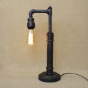 Simple Plumbing Pipe LED Table Lamp in Rust Finish 20'' H