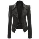 Women's Faux Leather Motorcycle Power Shoulder Jacket