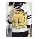Popular Cute Cartoon Print Contrast Trim Round Neck Long Sleeve Sweatshirt