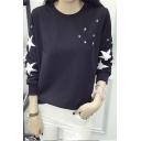 2016 Autumn Fashion Star Long Sleeve Round Neck T-shirt
