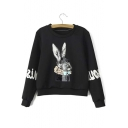 New Arrival Fashion Cute Rabbit Print Round Neck Fleece Sweatshirt