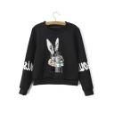 New Arrival Fashion Cute Rabbit Print Round Neck Fleece Sweatshirt