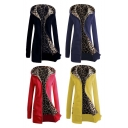 New Arrival Autumn Winter Women's Fashion Leopard Zipper Up Coat