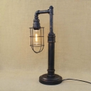 Antique Dark Bronze 20'' H Single Light Pipe LED Table Lamp with Cage Shade