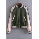2016 Fall New Style Fashion Color Block Eagle Embroidered Back Baseball Jacket