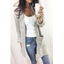 Women's Casual Loose Fit Long Sleeve Open Front Knitted Cardigan