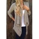 Plaid Draped Irregular Chunky Open Front Long Sleeve Loose Cardigan Sweater