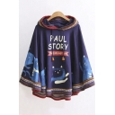 Cute Cartoon Cat Letter Printed Drawstring Hooded Cape