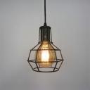 Antique Brass 1 Light Mini Cage LED Pendant Restaurant Lighting Fixture