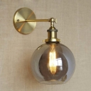 Mini Globe Glass LED Wall Sconce in Industrial Style 7'' Wide