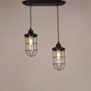 Double Headed Cage Style LED Multi Light Pendant in Black